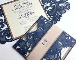 laser cut wedding programs lace wedding invitation navy copper laser cut wedding