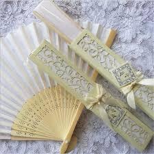 Church Favors by Folding Fan White Silk Bamboo Handheld Folded Fan Bridal