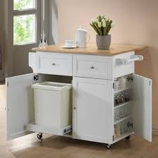 coaster furniture 900558 kitchen cart with leaf trash compartment