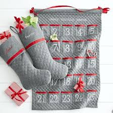 personalized quilted advent calendar in traditional red and grey