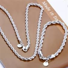 chain set necklace bracelet images Wholesale fashion men rope chain necklace bracelet 4mm jewlery 43262