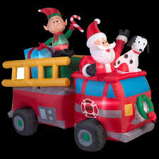 Halloween Inflatable Train Home Accents Holiday 7 Ft Lighted Inflatable Santa U0027s Fire Truck