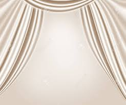 White Satin Curtains Beige Wavy Satin Curtains Abstract Background Theater Interior