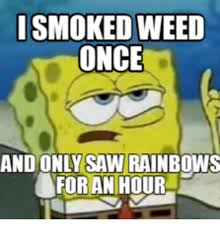 Rainbow Meme - smoked weed once and only saw rainbows for an hour saw meme on me me