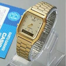 Jam Tangan Casio Gold jam tangan wanita casio aq 230 original gold garansi resmi 1 tahun
