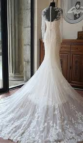 Wedding Dress With Train Ivory Long Sleeves Mermaid Lace Appliques Tulle Beach Wedding