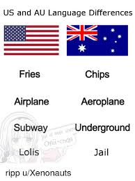 Language Differences Meme - us and au language differences fries airplane subway chips aeroplane