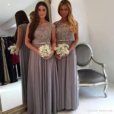 evening wedding bridesmaid dresses 2017 grey bridesmaid dresses a line neck appliques