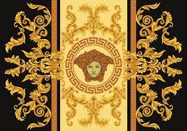 Greek Key Motif Modern Border Vector Illustration Versace Style With Gold Vintage