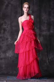 buy tailor made tiered one shoulder flowers organza pink prom