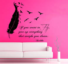 birds feather wall decals buddha quote if you want to fly give