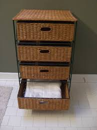 Chest Of Drawers With Wicker Drawers Iron 4 Drawer Shelf With Wicker Baskets