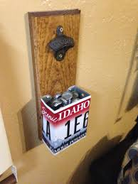 homemade bottle opener with idaho license plate crafty