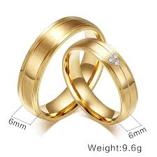 engagement marriage rings images Buy gold color couple rings cz stone crystal jpg