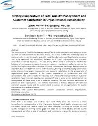 strategic imperatives of total quality management and customer