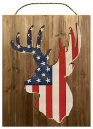 Deer Wall Decor Reflective Art Flag Whitetail Deer Silhouette Wood Wall Decor