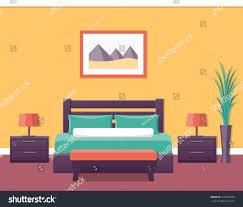 Bedroom With Furniture Hotel Room Flat Interior Bedroom House Stock Vector 516863239