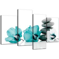 teal flowers canvas wall of flowers in teal for your living room