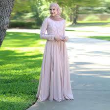 2017 new pink a line chiffon muslim evening dress long sleeve
