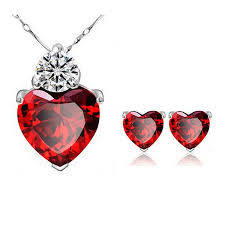 heart rhinestone necklace images Romantic love heart jewelry sets for women wedding cz crystal jpg