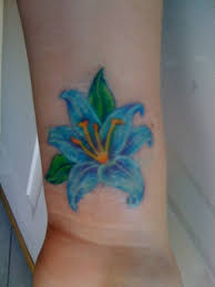 sky blue anemone flower tattoo on wrist tattooshunt com