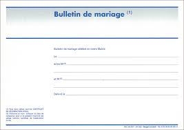 documents mariage bulletin de mariage célébration du mariage mariage état