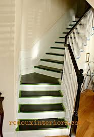 how to paint a staircase black and white with all the details