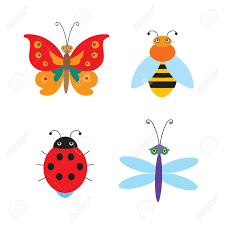 set of simple flying bugs vector ladybug vector dragonfly