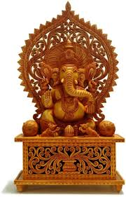 Statues For Home Decor by Wooden Ganesha Statue Hindu God Idol Figure Hand Carved Ganpati