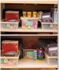 kids craft area organization with printable labels
