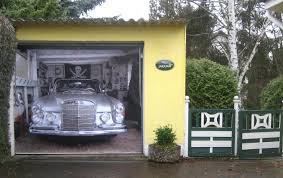 unique garage doors that mesmerize you with the imaginative unique garage door with 3d car picture plus yellow wall paint and fences combined with garden