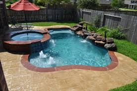 This Small Pool And Spa In Katy Tx Houston Features Stamped