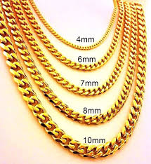 golden chain necklace men images 18 quot 30 quot mens stainless steel 4mm 10mm 24k gold plated cuban link jpg
