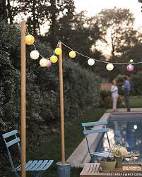 how to string cafe lights poles for outdoor lighting rcb lighting