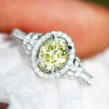 oval engagement ring with halo fancy yellow oval halo engagement ring 14k white