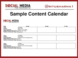 sample social media calendar developing social media strategy or