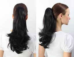 ponytail hair extensions curly clip in hair extensions black hairpiece zopf smooth medium