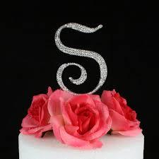 s cake topper letter s cake topper monogram 5 inch silver rhinestone