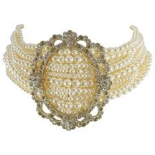 choker style pearl necklace images Chanel 15a victorian style pearl and rhinestone choker necklace at jpg