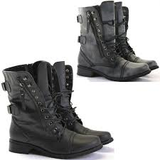s fold combat boots size 12 womens combat style army worker ankle boots flat