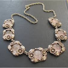 rose quartz rose necklace images Vintage rose quartz and silver ne from necklace jpg