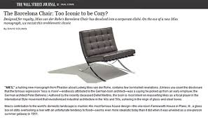 The Barcelona Chair The Wall Street Journal Praises The Iconic Barcelona Chair From