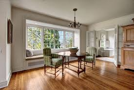 Traditional Dining Room With Crown Molding  Window Seat In - Dining room with bay window