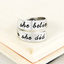 inspirational rings she believed she could so she did heart inspirational rings