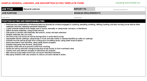 Sample General Labor Resume by Rice Mill General Labor Job Descriptions