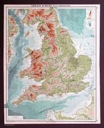 Wales England Map by England And Wales 1917 Vintage Maps