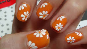 white tip nails with red flower nail art
