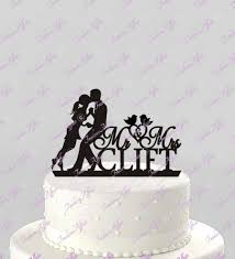 wedding cake silhouette topper mr and mrs personalized with couple