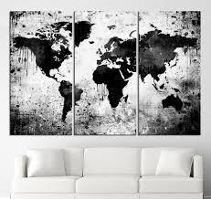 World Map Black And White Canvas Print Black And White World Map Wall By Acrylicpainting76