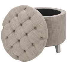 furniture brown leather round tufted ottoman with storage base